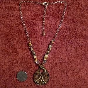 Goldtone Jasper and Abalone Necklace